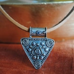 Natural Leather and Large Pendant Jewelry, Silver & Leather Jewelry, Statement Jewelry, Southwestern Style Jewelry, Boho Style Jewelry