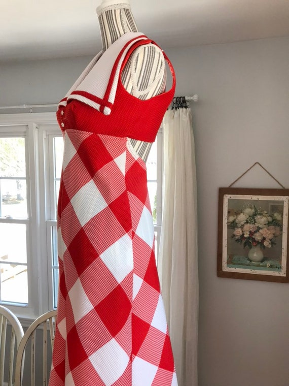 Vintage Red white evening gown dress halter open back disco maxi