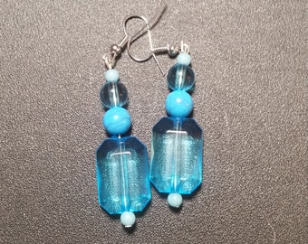 Brilliant Blue Crystal Dangle Earrings in Silver