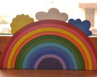Large Stacking RAINBOW - Waldorf Wooden Puzzle - Regenbogen - hölzerner Regenbogen - Arcoiris - Arcobaleno - Rainbow stacker - Big rainbow