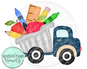 136194b8b0935 Watercolor Back to School PNG - Watercolor School Dump Truck Clipart for  Digital Download, Sublimation, and Printables