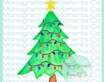 christmas tree watercolor clipart christmas tree lights watercolor png digital download printable artwork design toddler designs