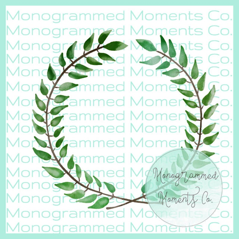 Watercolor Leaf Wreath Clipart - Handlettering Watercolor - Pretty Girly  Watercolor - PNG - Digital Download - Printable Artwork Design