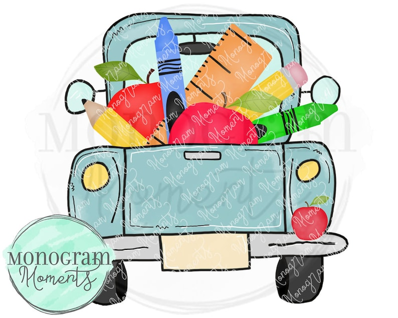 Watercolor Back to School PNG - Watercolor School Vintage Truck Clipart for  Digital Download, Sublimation, and Printables