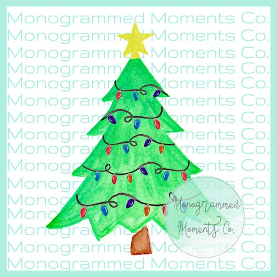 Christmas Tree Watercolor Clipart Christmas Tree Lights Etsy