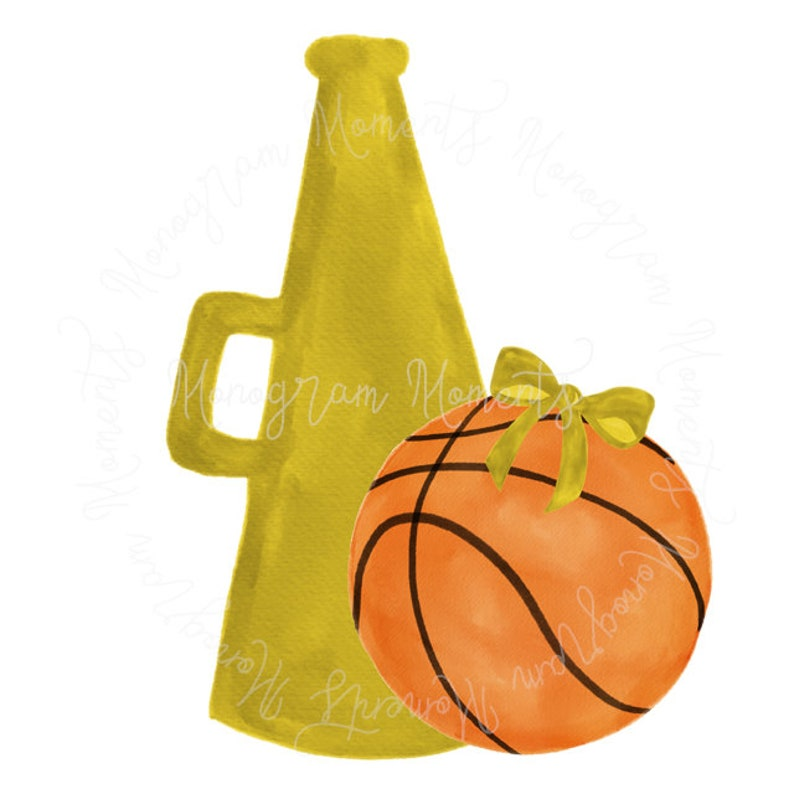 Watercolor Basketball PNG - Megaphone Basketball Clipart for Digital  Download, Sublimation, and Printables