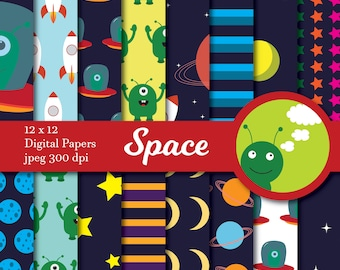 Space digital paper backgrounds