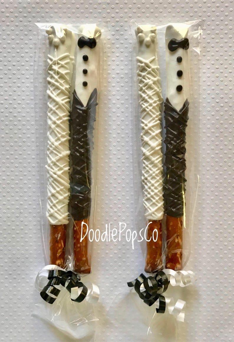 Wedding Pretzel rods  bride /& groom wedding favors  chocolate covered pretzel  one dozen 12