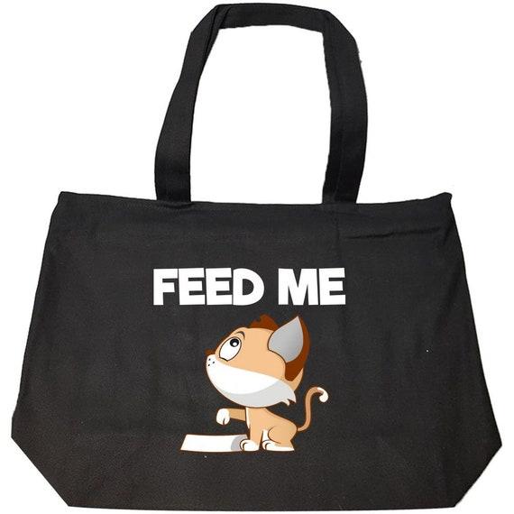 Chat pointant sa patte à la nourriture plat disant d'alimentation moi - mode Zip Tote Bag