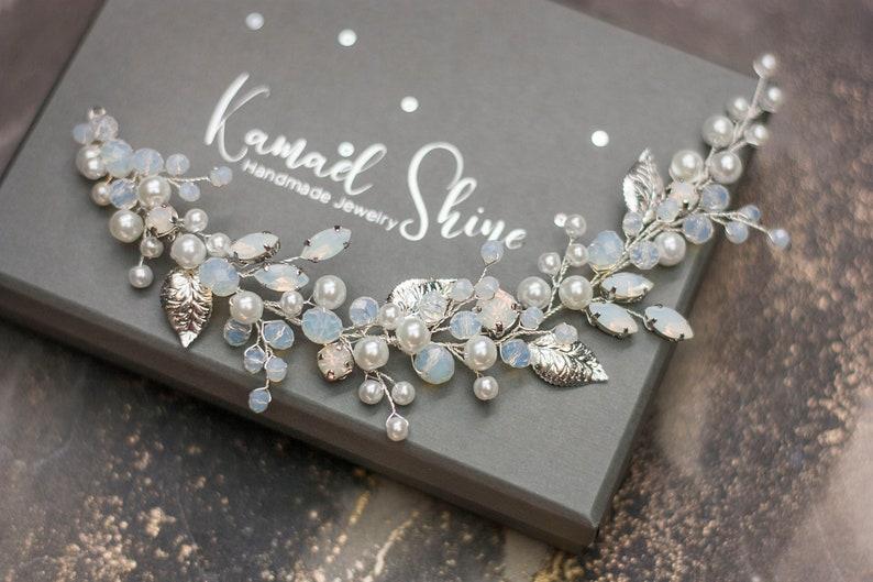 Wedding pearl hair piece Bride moonstone headpiece Bridal opal hair vine Opalscent rhinestones jewel Silver leaf hairpiece