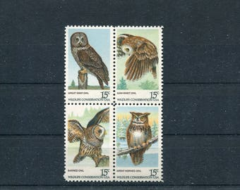 Owl Stamps USA Unused / 4 USA Postage Stamps
