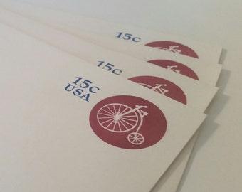 Bicycle Embossed USA Envelopes/Vintage Unused Issued In 1980