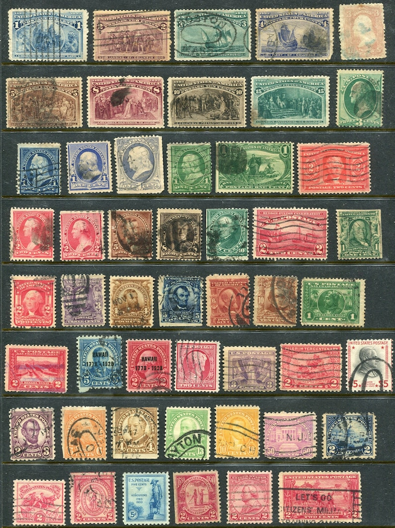 USA Used Stamps Issued From The 1800/'s-1930/'s50 Vintage Stamps Heavy Post Marked And Hinged*
