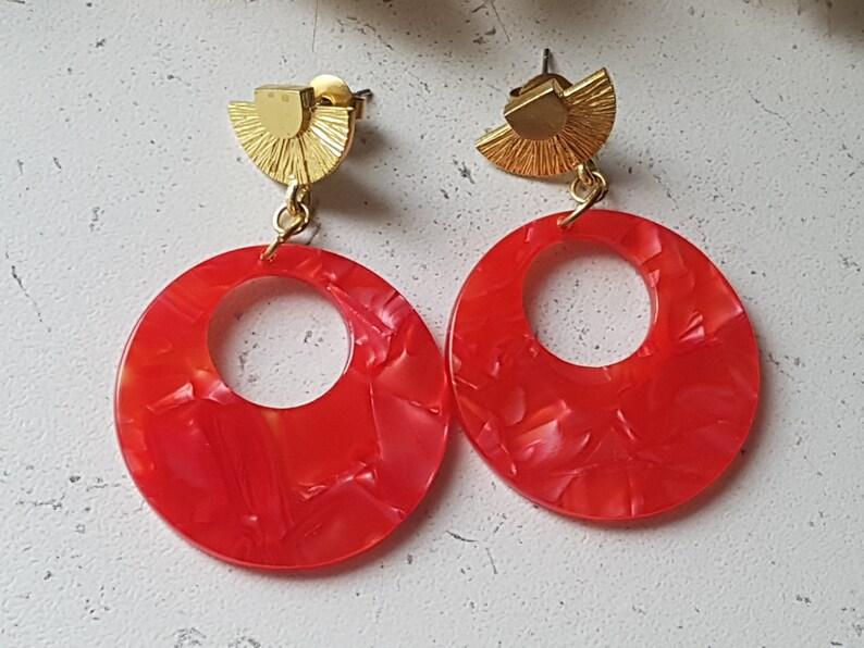 70/'s Pop Art Round Earrings in Cherry tomato red tortoiseshell acetate  beige mediterranean blue  yellow Portugal mosaic