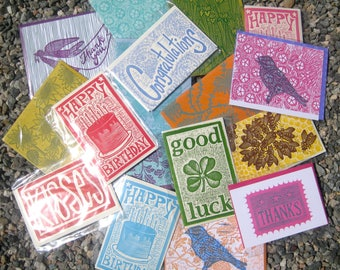 Pick Any 6 Cards - Hand Carved Linoleum Block Print Cards