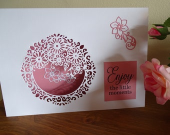 Floral Greeting Card, Pink and White Greeting Card