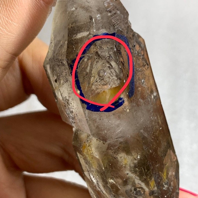 at least 8 mobile black sand /& water bubbles Rare!Natural Double Terminated Elestial Enhydro Quartz crystal Point From Sichuan China-CH-10