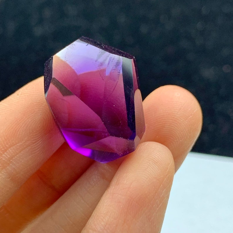 Finest Quality Natural Amethyst Brazilian Jewel FACETED crystal reiki healing+box-B21