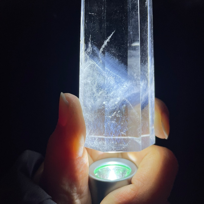 4.38/'/' Natural clear Quartz Crystal with blue angels feather inclusions Obelisk Wand 8sided tower Point crystal Healing-9