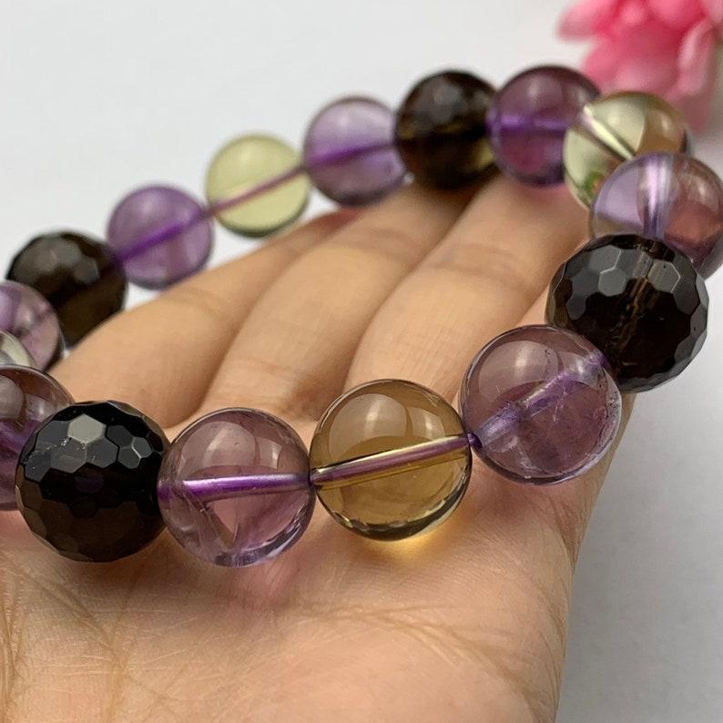 natural 13 mm ametrine quartz crystal /& smoky quartz crystals bracelet-12