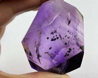 natural amethyst quartz crystal with goethite inside free form pendant -77