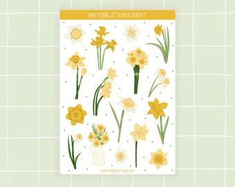 Daffodil sticker sheet, Spring stickers, Daffodil stickers, Floral sticker sheet, Flower sticker sheet, Botanical stickers, Spring flowers