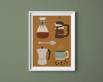 Coffee Utensils, A5 A4 Coffee art print,  Coffee illustration, Coffee print, Coffee poster, Coffee lovers gift