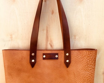 The Everyday Bag / Large Leather Handbag / Custom Leather Tote / Veg Tan Leather Purse / Shoulder Bag / Handmade in the USA