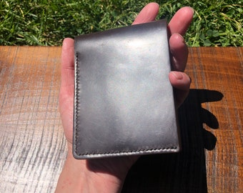 Horween Shell Cordovan Black and Brown Bifold Wallet / Handmade in the USA / Men's Bi Fold Leather Wallet