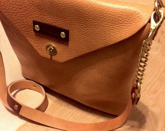 Natural Leather Crossbody Handbag / Handmade in the US