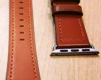 Single Tour Brown Leather Apple Watch Band / 38mm 42mm / Hermes Single Tour Leather Watch Band / Silver Hardware / Handmade in the USA
