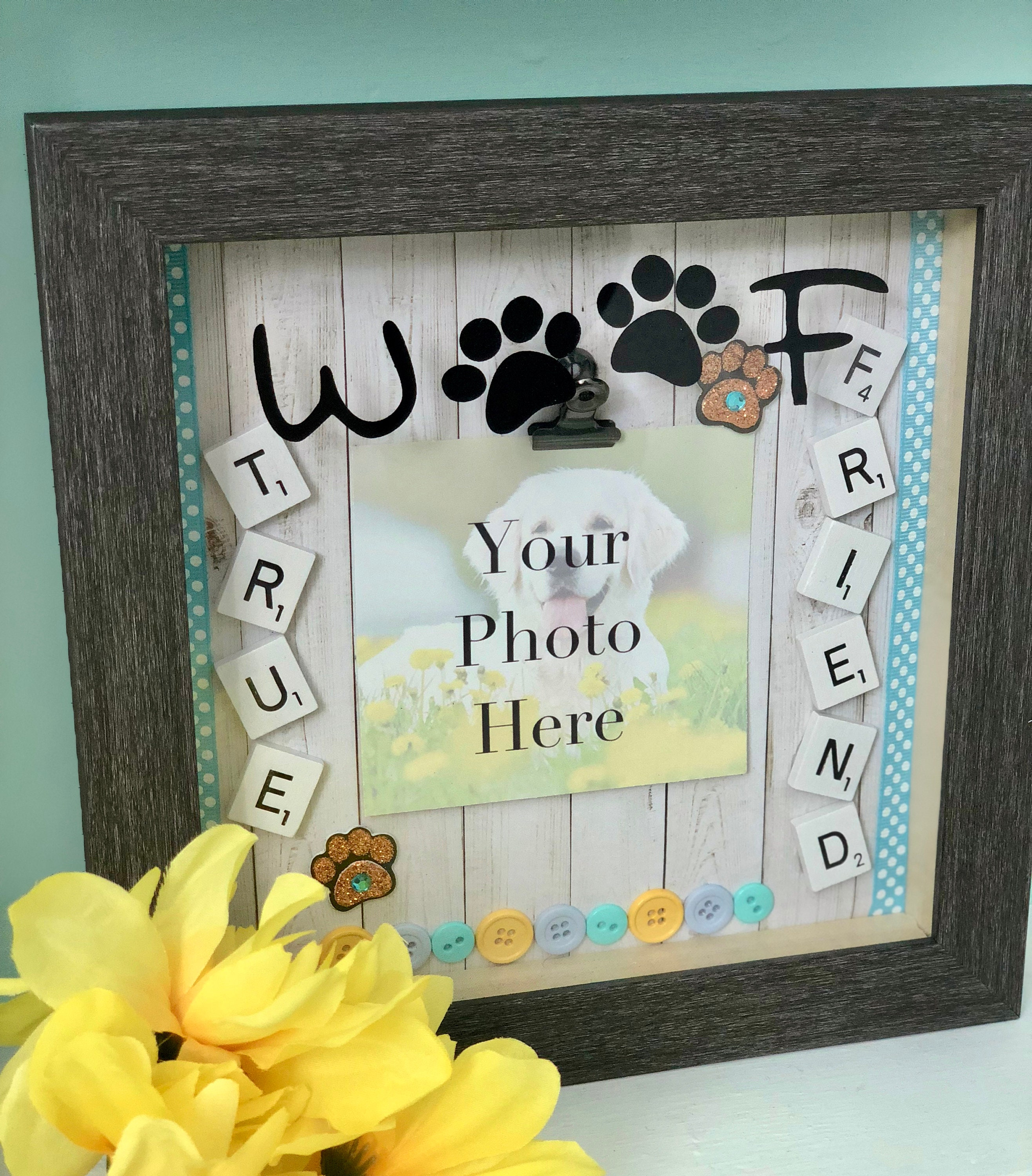 Handmade True Friend Dog Shadow Box Picture With Photo Clip Picture