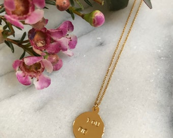 """Medal necklace engraved """"You & Me"""" in gilded brass"""