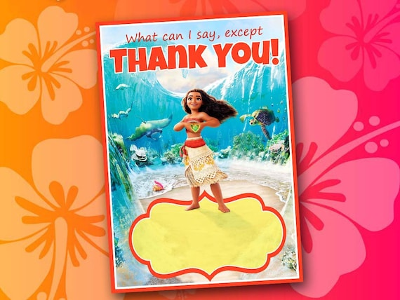 Moana Thank You Card Birthday Party Thank You Note Printable Etsy