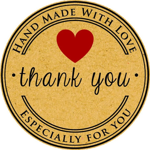 Craft handmade stickers kraft thank you sticker set of 24 from signfactorymalta on etsy studio