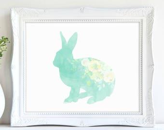 Woodland Bunny Print, Nursery Rabbit Print, Nursery Bunny Print, Rabbit Printable Art, Easter, Rabbit Art, Instant Download, Printable Art