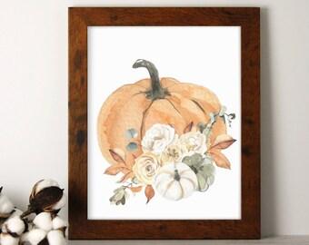 Fall Decor, Floral Pumpkin Print, 8x10