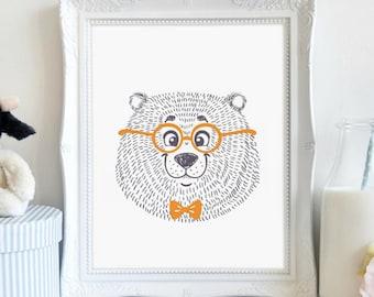 Smiling Bear, Nursery Art, Boy's Bedroom, Bear Art, Wall Art, Printable Art, Printable Wall Décor, Instant Download, Digital Print
