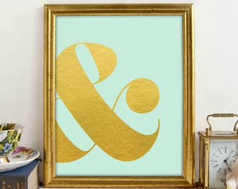 Ampersand Gold Print, Mint Gold Print, Girls Bedroom, Gold Lettering, Wall Art, Printable Art, Printable Wall Decor, Instant Download