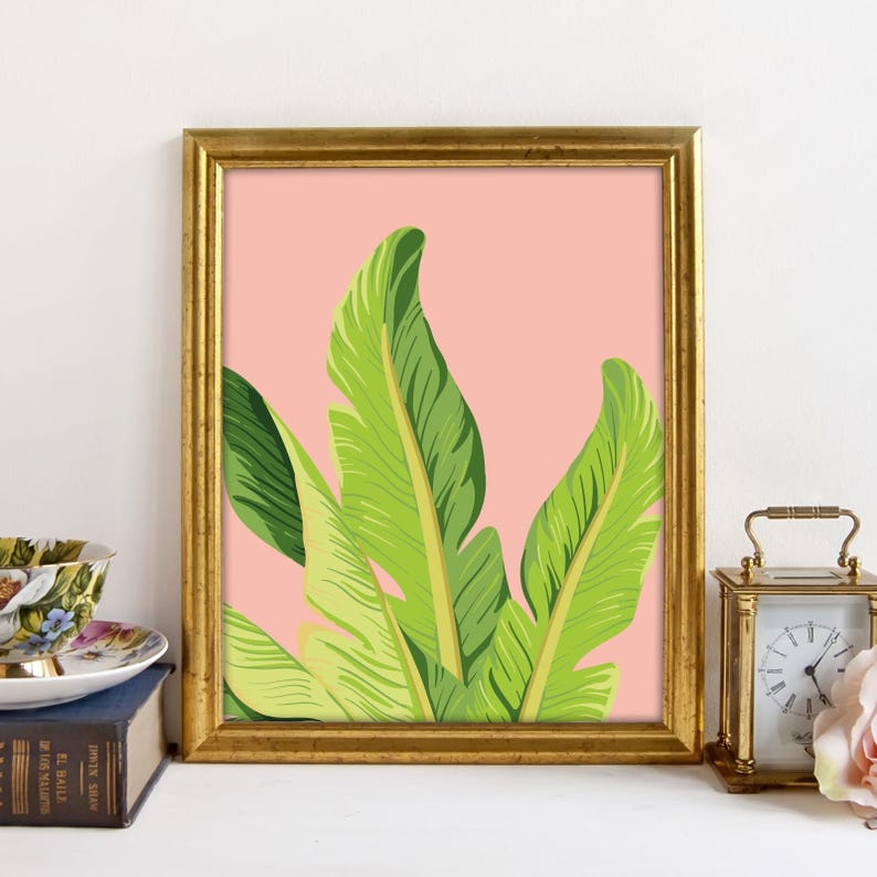 banana leaf art tropical print palm leaf decor printable
