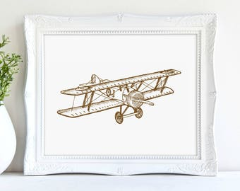 Plane Print, Biplane Print, Vintage Travel Print, Sepia Tone, Boys Bedroom, Adventure Art, Digital Print, Instant Download, Printable Art