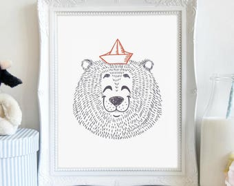 Cheerful Bear, Nursery Print, Nature Print, Boy's Bedroom, Wall Art, Printable Art, Printable Wall Décor, Instant Download, Digital Print