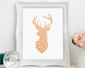 Deer Silhouette, Peach Gold, Geometric Deer, Animal Print, Nursery Decor, Nature Decor, Digital Print, Instant Download, Printable Art