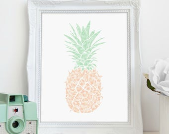 Pineapple Print, Tropical Print, Wall Art, Printable Art, Pineapple Decor, Nursery Print, Printable Wall Decor, Instant Download