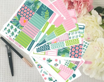 Tropical Weekly Sticker Kit for Erin Condren VERTICAL Planner
