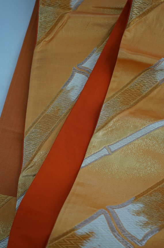 Obis Display Great 3 Obis Delight Lovers Diamonds Japanese Flower for Orange Vintage Crests Silk or Bamboo Fukuro Wear Excellent pp6arn8