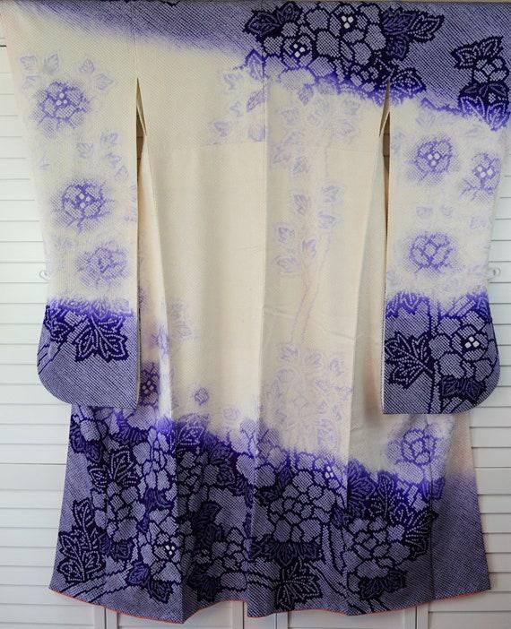 Stunning  Shibori Furisode Silk Purple Vintage Jap