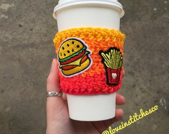 Burger and fries  coffee sleeve, travel mug cozy, mug sweater, Burger and fries coffee cozy, BBQ ideas