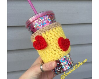 I heart pizza coffee sleeve/travel mug cozy/ pizza cozy/ heart cozy