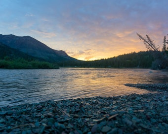 Sunrise: Glacier National Park Colorful Photograph Print Wall Art